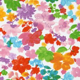 Cassandra - Geranium - A white cotton fabric background to a simple design of flowers in bright orange, pink, red, aqua blue, purple and gre