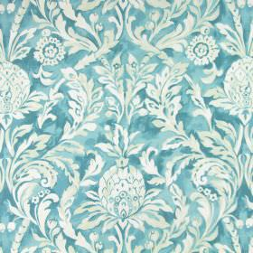 Ophelia - Lagoon - Light, bright blue fabric made from cotton with an off-white pattern of large, leafy, floral shapes