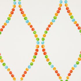 Romany - Geranium - Orange, red, green and aqua blue coloured dots arranged in wavy lines on a very light grey cotton fabric background