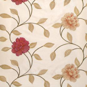 Petal - Ruby - Ruby and green floral pattern on reddish white fabric