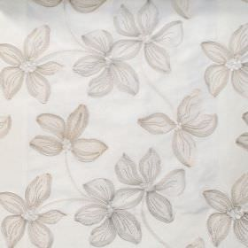 Spray - Natural - Grey floral impressions on natural white fabric