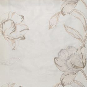 Larkspur - Natural - Gold floral impressions on natural white fabric