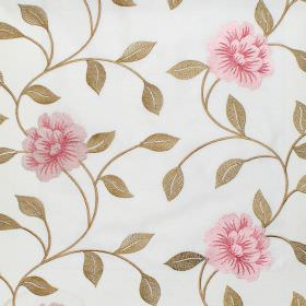 Petal - Rose - Rose and green floral pattern on light blue fabric