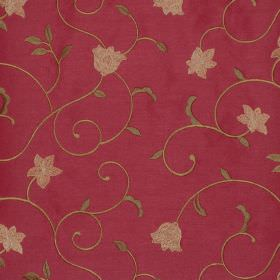 Petite Fleur - Claret - Floral swirls on claret red fabric