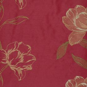 Larkspur - Claret - Chardonnay floral impressions on claret red fabric