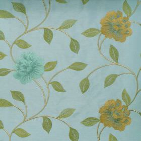 Petal - Turquoise - Yellow and green floral pattern on turqoise fabric