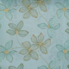 Spray - Turquoise - Floral impressions on turquoise fabric