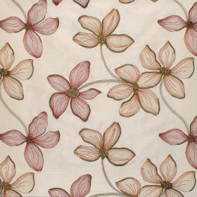 Spray - Ruby - Ruby floral impressions on natural white fabric