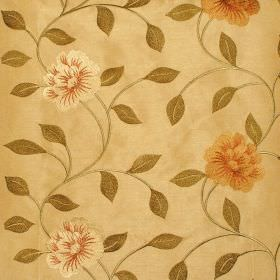 Petal - Antique - Red and green floral pattern on antique yellow fabric