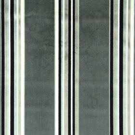 Parador - Charcoal - Dark grey, black, white and beige striped rayon-polyester blend fabric