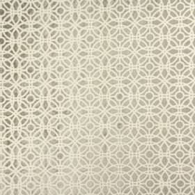 Amara - Parchment - Silvery grey fabric made from rayon and polyester behind a design of white lines and concentric circles