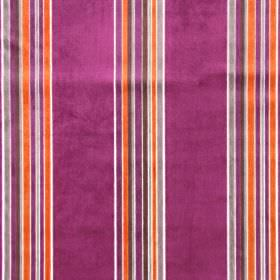 Parador - Magenta - Fuschia, bright orange, grey-brown and white stripes creating a vertical pattern on fabric made from rayon and polyester