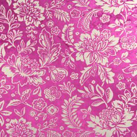 Taranto - Magenta - Rayon-polyester blended fabric in magenta with a slight sheen, featuring a large floral design in matt grey