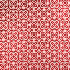 Amara - Cardinal - Rich red and silver coloured, circle and straight line patterned fabric made from a combination of rayon and polyester