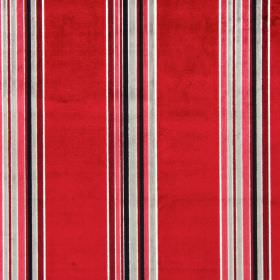 Parador - Cardinal - Fabric made from striped rayon and polyester in white, black, silver and pillarbox red