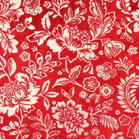 Taranto - Cardinal - Floral patterned rayon and polyester blend fabric, with a pale grey design on a bright red background