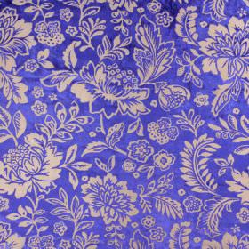 Taranto - Royal - Royal blue and light brown coloured floral patterned fabric with a 47% rayon and 53% polyester content
