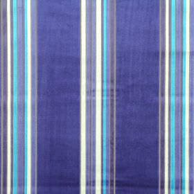 Parador - Royal - Different shades of blue, grey and white making up a striped design for rayon and polyester blend fabric