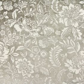 Taranto - Parchment - White flowers and leaves on a silver fabric background made by blending rayon and polyester