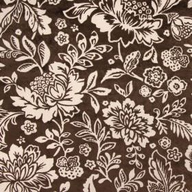 Taranto - Mocha - Dark brown and creamy beige coloured rayon-polyester blend fabric with a large pattern of flowers and leaves