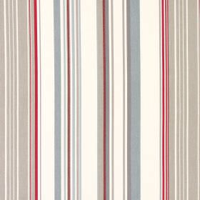 Cheltenham - Vintage - Fabric made from vertically striped grey, cream, light brown and red cotton