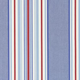 Hampstead - Nautical - Fabric made from striped cotton in grey, blue, red and white