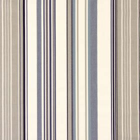 Cheltenham - Oxford - Mocha coloured stripes, interspersed with stripes of black, cream and grey, on this fabric made from cotton