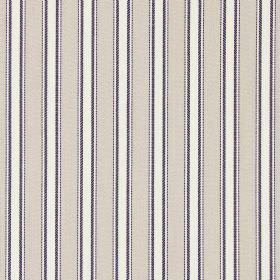 Kingsley - Oxford - Cream, dark grey and white coloured cotton fabric with a regular pattern of stripes
