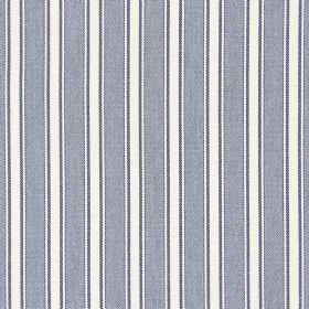 Kingsley - Navy - A simple striped design on cotton fabric in plain grey and white colours