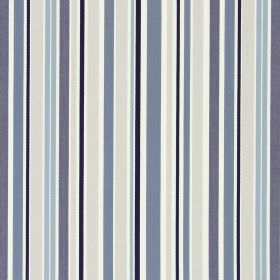 Glastonbury - Oxford - Shades of blue, grey, cream and white making up the vertical striped pattern for this cotton fabric