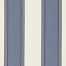 Stowe - Oxford - A simple design of dark blue stripes on a background of light grey cotton fabric