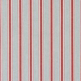 Kingsley - Vintage - A pattern of dusky red and light grey stripes on cotton fabric in white