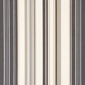 Cheltenham - Beechwood - Cotton fabric featuring a striped design in dark grey, dark brown, light brown and cream