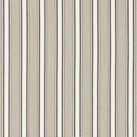 Kingsley - Beechwood - A repeated design of dark grey-brown and mocha coloured stripes on a cream coloured cotton fabric background
