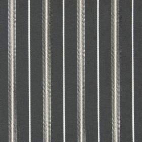 Walden - Beechwood - Cotton fabric with a repeated design of dark brown and cream coloured stripes on a dark charcoal coloured background
