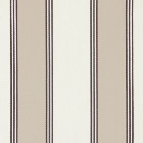 Stowe - Beechwood - Thin dark grey lines between bands of mocha and cream-beige colours on this cotton fabric