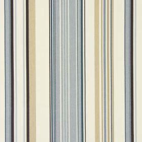 Cheltenham - Cambridge - Stripes in caramel, cream, dusky blue, dark brown and light grey making up the pattern for this cotton fabric