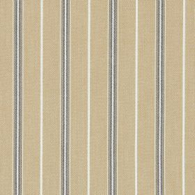 Walden - Mustard - Cotton fabric in a caramel colour, patterned with dark brown, dark grey and white narrow, vertical stripes