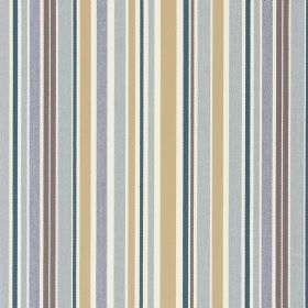 Glastonbury - Cambridge - Cotton fabric featuring a random pattern of gold, cream and brown stripes, along with stripes in different grey sh