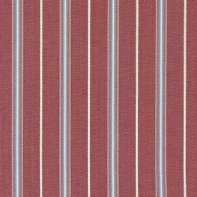 Walden - Nautical - Grey, ice blue and white stripes running down a background of cotton fabric in dusky red