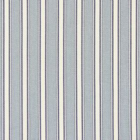 Kingsley - Cambridge - White cotton fabric printed with orderly vertical light grey and dark grey stripes