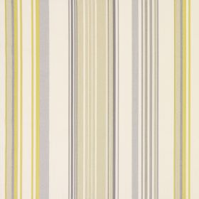 Cheltenham - Jonquil - Striped cotton fabric in light gold, cream and light grey