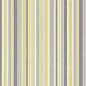 Glastonbury - Jonquil - Cream, beige, grey and light green-yellow striped fabric made from cotton