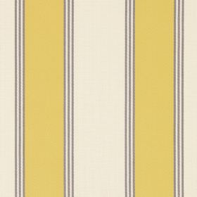 Stowe - Jonquil - Cotton fabric printed with a repeated stripe pattern in white, light yellow and light grey