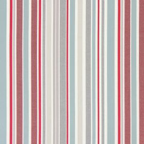 Glastonbury - Vintage - Grey, cream, beige, red and white coloured cotton fabric with a random striped design