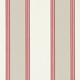 Stowe - Vintage - Fabric made from cotton with equal bands of beige and off-white, each edged with three dark red lines
