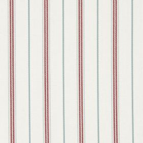 Walden - Vintage - Light grey and dusky red stripes as a pattern for this white cotton fabric