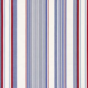 Cheltenham - Nautical - Cream cotton fabric printed with vertical stripes in grey, denim blue and dark red