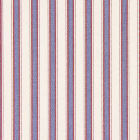 Kingsley - Nautical - Dusky blue and red stripes on a background of white cotton fabric