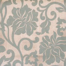Newbury - Azure - Sandy fabric with classic azure blue floral pattern